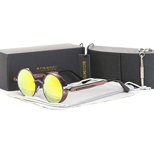 Ronsou Steampunk Style Round Vintage Polarized Sunglasses Retro Eyewear UV400 Protection Matel Frame brown frame/golden - Steam Sunglasses