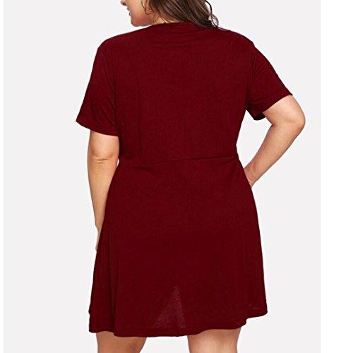 Mini Rouge Robe Fashion Plage Ete Chic Day8 Femme Printemps Courte À Manche Vetement Grande Taille Cocktail Jupe 5xl Pas Cher Xl Vetements De Y6g7vIbfym