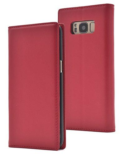尊厳対処森PLATA Galaxy S8 ケース 手帳型 ラム シープスキン 羊革 本革 レザー カバー 【 レッド 赤 あか red 】