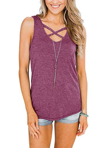 Fallorchid Women's V Neck Tank Tops Criss Cross Neckline Casual Tees Summer Sleeveless Shirts