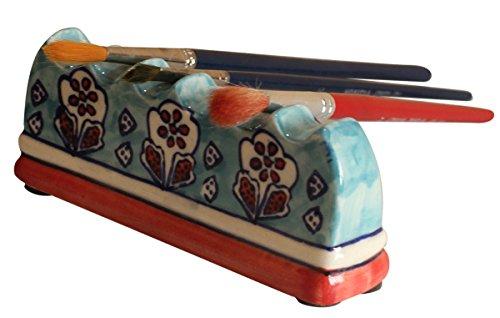 AB Handicrafts CLEARANCE DEALS 6 Scoop Ceramic Paint Brush Organizer Holder/Brush Rest/Ceramic Brush Placing Painting Writing Brush Holder/Drawing Art Brush Holder by AB Handicrafts