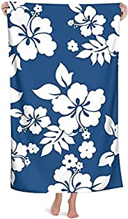SHYHXQH Microfiber Beach Towel for Adult,Hawaiian Flowers,Outdoors Pool Beach Towels,Super Absorbent Quick Dry