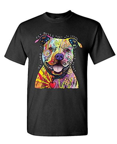 The Goozler Beware of Pit Bulls Dean Russo Dog Canine - Cotton T-Shirt, L, Black USA Made (Beware Of The Dog Roald Dahl Theme)
