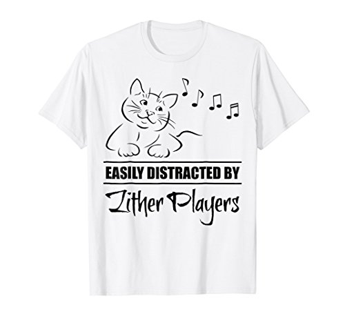 Curious Cat Easily Distracted by Zither Players T-Shirt