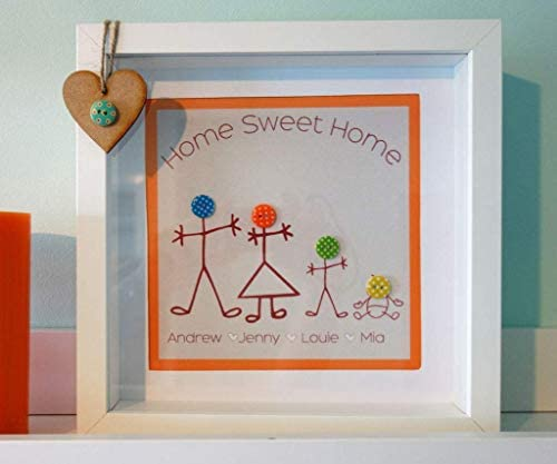 Personalised Button Family FRAMED Picture Print
