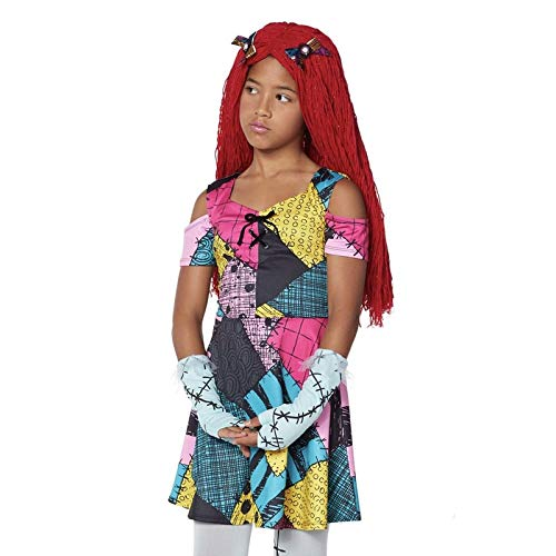 (Halloween The Nightmare Before Christmas Sally Dress Costume Fancy Girl Gown Cosplay Party Costume)