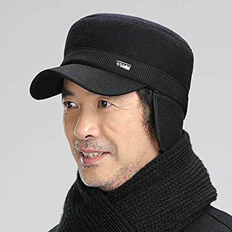 LLIND Home Middle-Aged Men Wool Fedora hat Mens Warm Ear Cap Autumn Grandfather Color : Black
