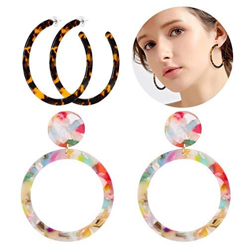 led Hoop Earrings Bohemia Acrylic Resin Hoops Stud Earrings (F: 2PCS Set 2) ()