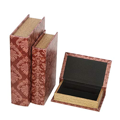 Hosley Storage Memory Book Boxes Set of 3, Red Brown & Gold,12