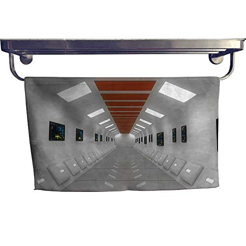 (HoBeauty home Quick-Dry Towels, Space Station UFO Futuristic Hallway with Lights High Technology Laboratory Pho,Microfiber Towel W 23.5