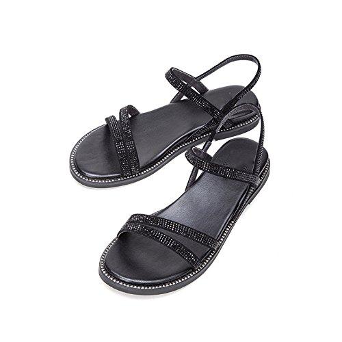 Zapatillas Moda de de Sandalias Dulces bajo Color DHG Verano de Punta Sólido Tacón Sandalias Sandalias 36 de Ocasionales Altos Tacones Planas Negro Mujer de de R8qIpR