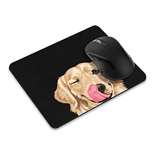 Non-Slip Rectangle Mousepad, WIRESTER Winking Golden Retriever Mouse Pad for Home, Office and Gaming Desk