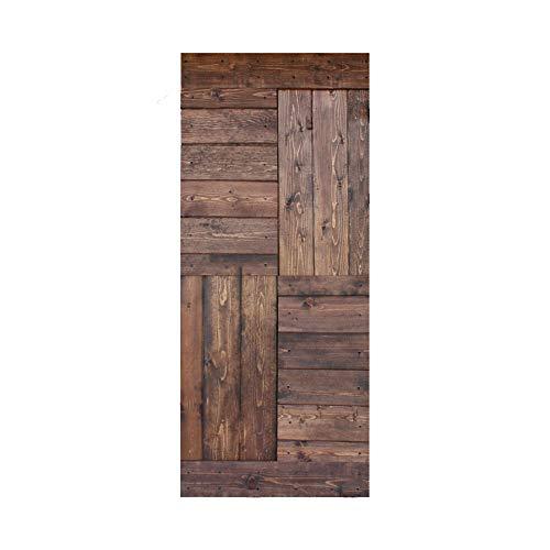 36in X 84in S Series DIY Knotty Pine Wood Interior Sliding Barn Door Slab (Classic Walnut)(Door ONLY)