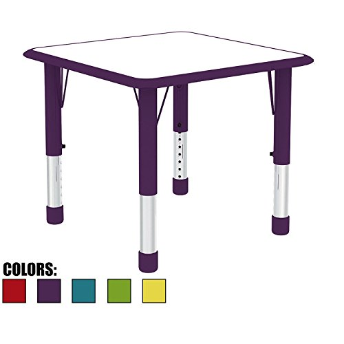 (2xhome Adjustable Height Kids Table Square for Toddler Child Children School Preschool 2 4 6 Years Old Kitchen Bedroom Dining Room Activity Home Commercial with Metal Chrome Safety Corner Purple)