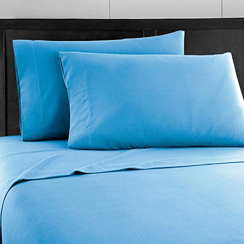 Prime Bedding Bed Sheets - 3 Piece Twin Sheets, Deep Pocket Fitted Sheet, Flat Sheet, Pillow Case - Blue
