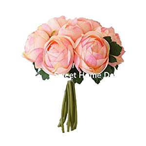Sweet Home Deco 9'' Soft Silk Ranunculus Flower Bouquet (10 Stems/10 Flower Heads) Wedding/Home Decorations (Peach) 88