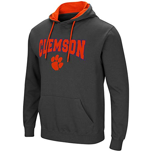 Colosseum Men's NCAA-Scoreboard-Dual Blend-Fleece Hoodie Pullover Sweatshirt-Charcoal-Clemson Tigers-Large