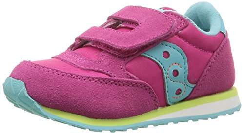Saucony Jazz Hook & Loop Sneaker (Toddler/Little Kid), Pink/Turqoise/Lime, 9.5 M US Toddler (Best Running Shoes For Children)