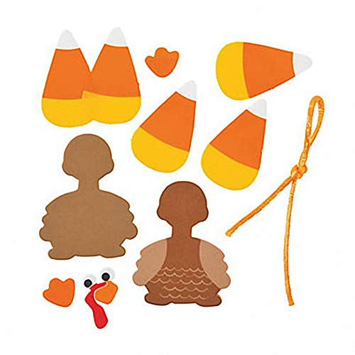 Set of 12 Candy Corn Turkey Ornament Foam Craft Kit ~ Thanksgiving Fall Fun! ()