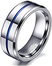 Ring made of tungsten with original seal inside silver color in blue line size 7