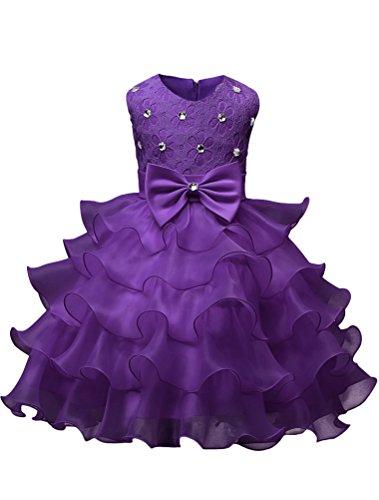 120cm Party Long Dress Sleeveless Princess Girl Dress-Purple - 5