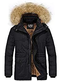 Men's Winter Thicken Coat Faux Fur Lined Jacket with Removable Hood