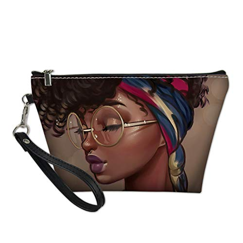 NDISTIN Women Ladies Travel Makeup Bag Waterproof Washroom Hanging Washing Bag Cosmetic Pouch Zipper Tote Toiletry Case African Girl Design