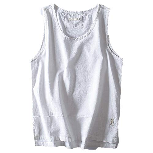 FEDULK Plus Size Men's Cotton Vest Tank Tops Solid Color Breathable Sleeveless Loose Tees Blouse(White, Medium) ()