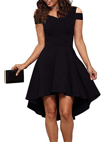 - POGTMM Women's Cold Shoulder Short Sleeve High Low Hem Cocktail Party A-line Skater Dress (S(4-6), Black)