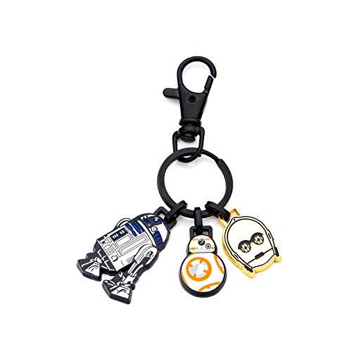 Base de metal R2D2Star Wars, BB-8y logotipo de C-3PO con Negro IP Key cadena