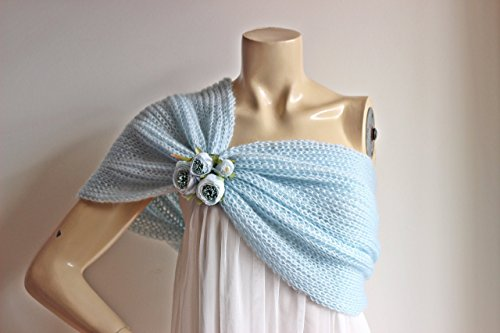Light Blue Cape-Baby Blue Bridal Cape  Blue Wedding Wrap Shrug Bolero Hand 8e92229a7cd7f