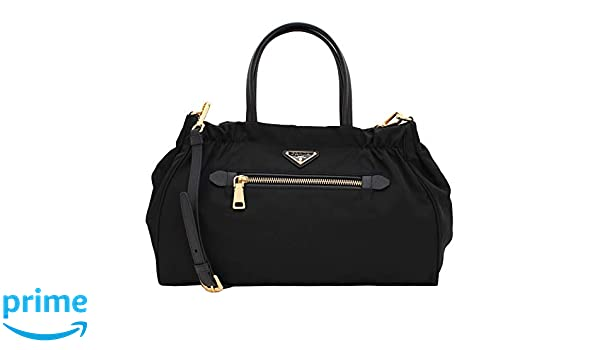 3cbdf57dbec4 Amazon.com  Prada Women s Tessuto Nylon   Saffiano Leather Trim Shoulder  Tote Bag Black 1BA843  Shoes