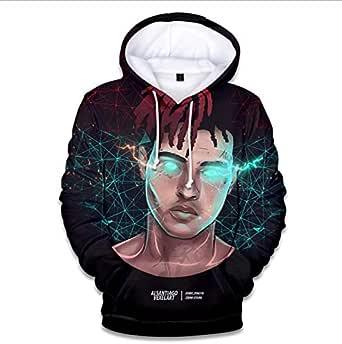 Men's long-sleeved hooded sweatshirt xxxtentacion rapper pattern printing casual loose comfortable Tops-L