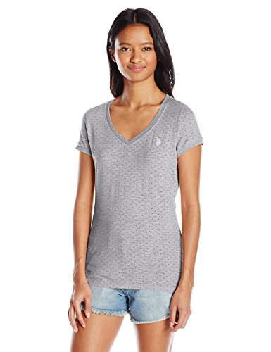 (U.S. Polo Assn. Junior's Polka Dot Lace Trim V-Neck T-Shirt, Heather Grey, Large)