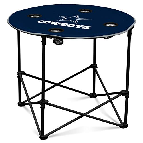 (Logo Brands Dallas Cowboys Collapsible Round Table with 4 Cup Holders and Carry Bag)