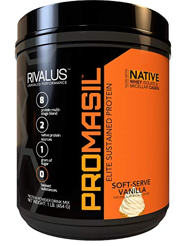 Rivalus Promasil Soft Serve Vanilla, 1lb - 8-Source Protein Blend Including Native Whey Isolate, Native Micellar Casein, Egg, Sustained Delivery, Clean Nutrition Profile, No Banned Substances