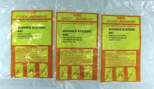 (3 x A4C - Submersible Pump Wire Splice Kit Repair and Installation. #10#12#14 AWG, 4 Wires. Easy and Reliable. CRIMP It - SHRINK It and FORGET it!)