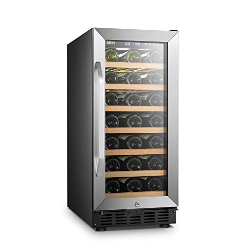 LANBO Compact Wine Cellar Refrigerator, 33 Bottles Under Counter Compressor Wine Cooler, Black and Stainless Steel Trim
