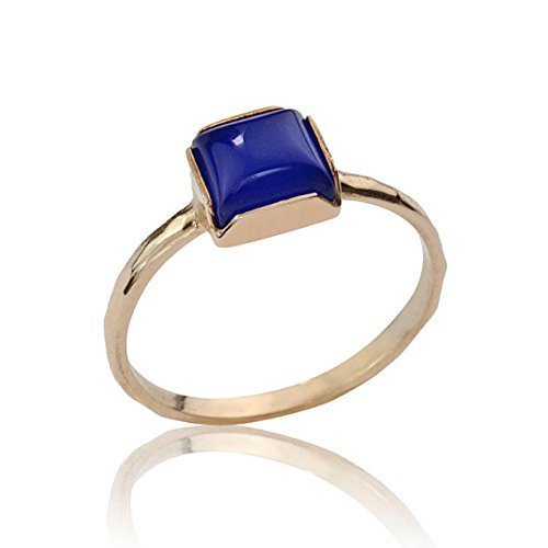 18k Yellow Gold Lapis Ring (Handmade Lapis Lazuli Cocktail Ring in 14K or 18K Yellow Gold Rose Gold and White Gold, Unique Gemstone Engagement Ring)
