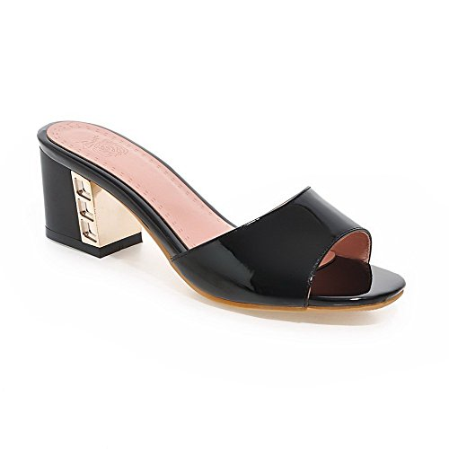 WeiPoot Women's Open Toe Kitten-Heels Patent Leather Solid Pull-on Slippers, Black, 40 by WeiPoot