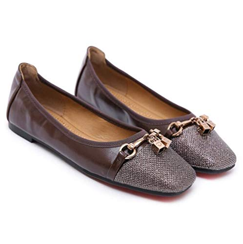 Loafers Habillées Femme Cuir Hnm Femmes Mocassins Ballerine Plates Brown Chaussures Uxqgpw6d0