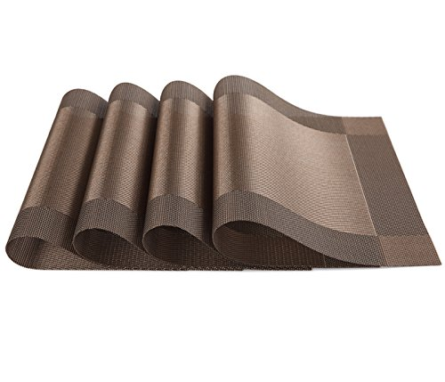 SiCoHome Placemats,Brown Vinyl Placemats,Pack of 4