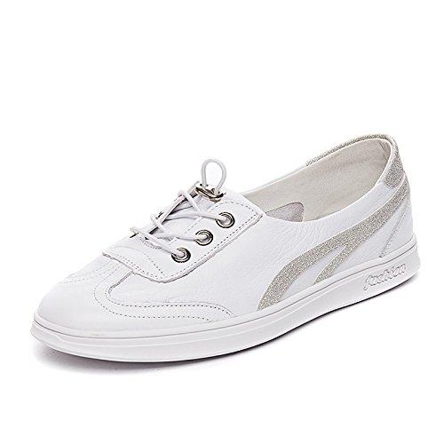 NGRDX&G Zapatos Blancos Zapatos De Mujer Zapatos Deportivos Zapatos Transpirables White Silver