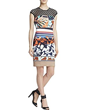 Womens Neoprene Cut-Out Party Dress