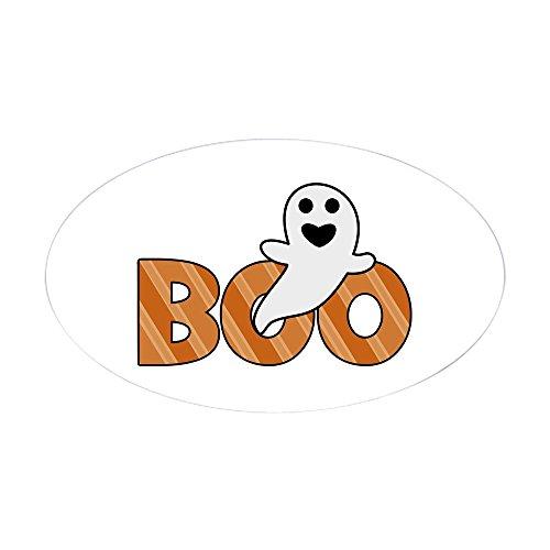 CafePress Boo Spooky Halloween Casper Sticker Oval Bumper Sticker, Euro Oval Car Decal -