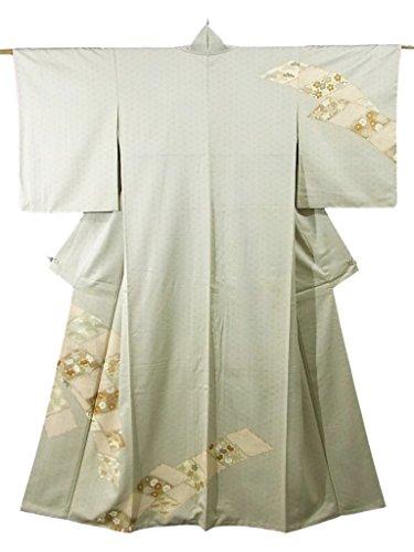 王室悪性の失速リサイクル 着物 訪問着 正絹 袷 麻の葉文様と帯状の色紙文 裄63cm 身丈165cm