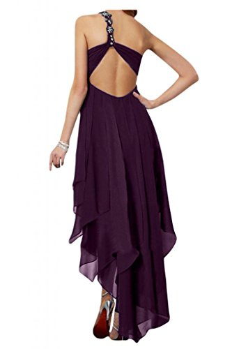 Toscana novia preferido Rueckenfrei Hi-Lo por la noche vestidos de Gasa de dama de honor vestidos de bola de fiesta largo Traube