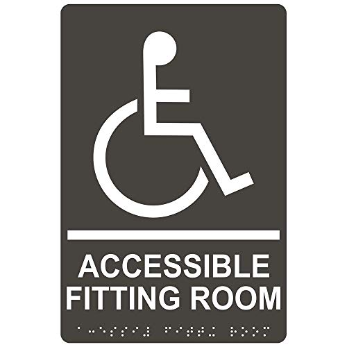 (Accessible Fitting Room Sign, ADA-Compliant Braille and Raised Letters, 9x6 in. Charcoal Gray Acrylic with Adhesive Mounting Strips by ComplianceSigns)