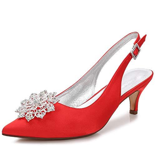 Schuhe Satin cm Gericht Frühling Abend Kätzchen Closed Grundlegende 6 Stiletto Frauen Ferse Seide Elobaby Toe Braut Hochzeit 7qwZytE