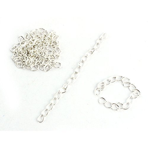 DealMux Metal Jewelry DIY Findings Necklace Bracelet Extender Chain Link Tial Tassel 10 Pcs Platinum Tone